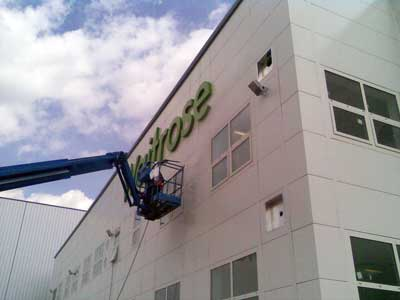 high level cleaning for warehouse cladding